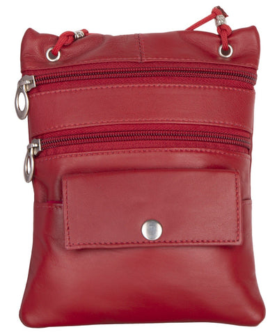 Red Color Leather Women Cross Body Bag - C13RED