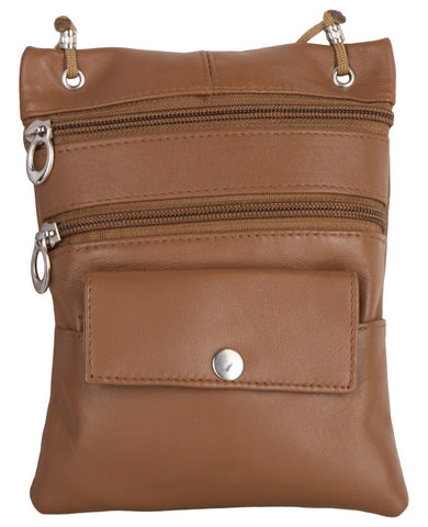 Tan Color Leather Women Cross Body Bag - C13TAN