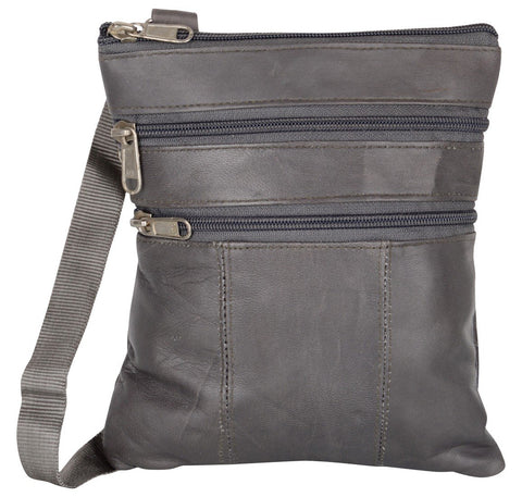 Grey Color Leather Women Cross Body Bag - C14GREY