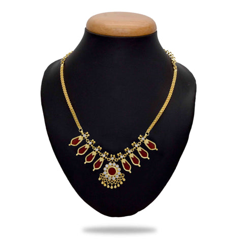 Red and Gold Color Alloy Necklace  - C3PNPG0059A