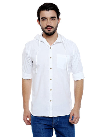 White Color Cotton Mens Shirt - C3SH0W