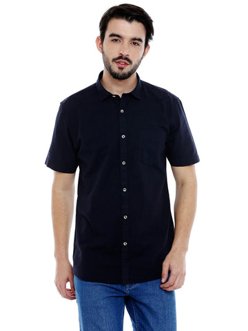 Navy Blue Color Cotton Shirt - C3SR0B