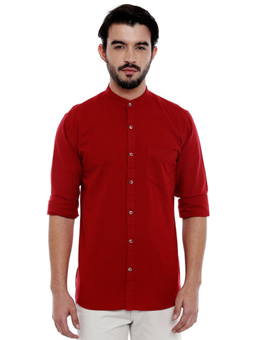 Red Color Cotton Shirt - C3SW0R
