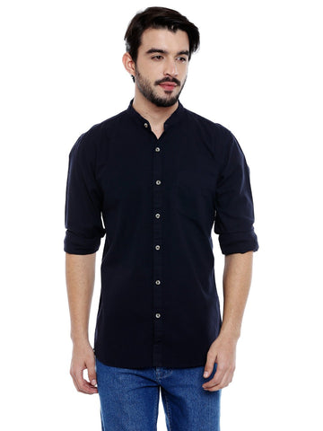 Navy Blue Color Cotton Shirt - C3SWNY