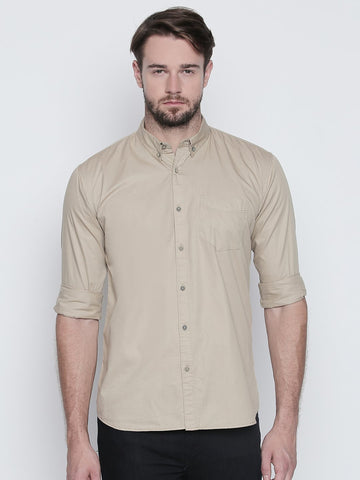 Beige Color Cotton Mens Shirt - C4SBBG