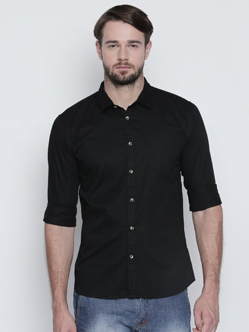 Black Color Cotton Mens Shirt - C4SCBK