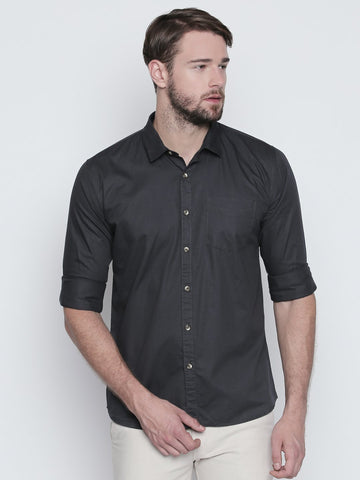 Grey Color Cotton Mens Shirt - C4SCGY