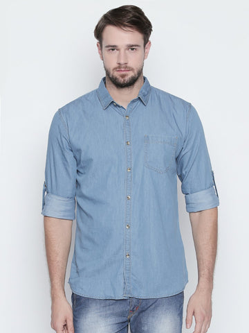 Light Blue Color Cotton Mens Shirt - C4SDLB