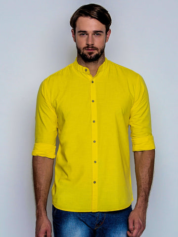 Yellow Color Cotton Mens Shirt - C4SW0Y