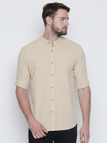 Beige Color Cotton Mens Shirt - C4SWBG