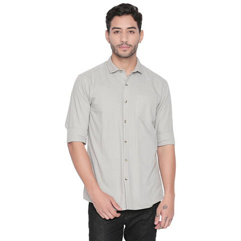Grey Color Cotton Slim Fit Shirt - C6SSCGY