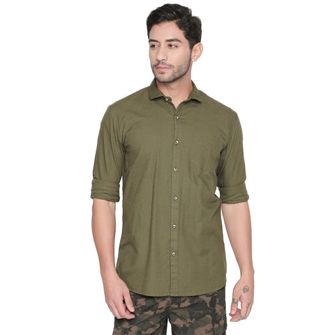Green Color Cotton Slim Fit Shirt - C6SSCG