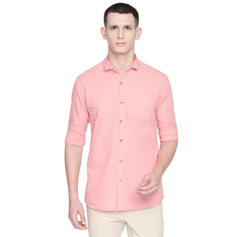 Pink Color Cotton Slim Fit Shirt - C6SSCP