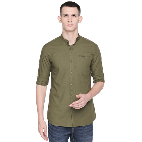 Green Color Cotton Slim Fit Shirt - C6SW0G