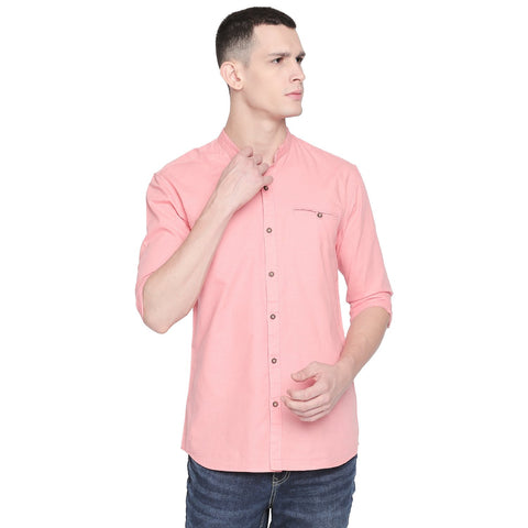 Pink Color Cotton Slim Fit Shirt - C6SW0P