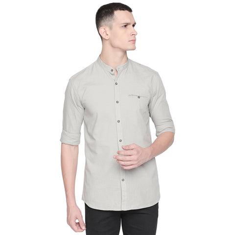 Grey Color Cotton Slim Fit Shirt - C6SWGY