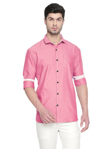 Red Color Cotton Men's Solid Shirt - C7SSCR