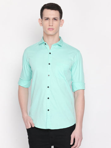 Green Color Cotton Men's Solid Shirt - C8SS0G