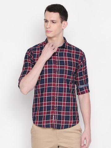 Red Color Cotton Men's Checkered Shirt - C8SSCR