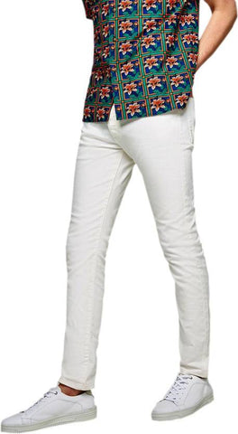Calcium Skinny Men's White Denim Jeans - CAL0016