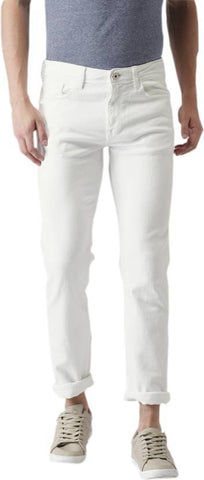 Calcium Slim Men's White Denim Jeans - CAL0020