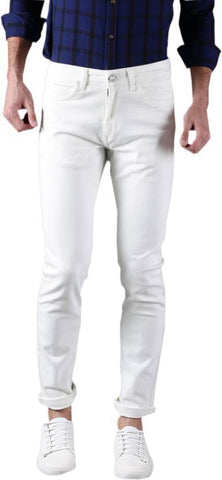 Calcium Slim Men's White Denim Jeans - CAL0021