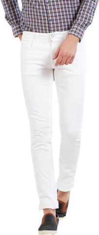 Calcium Slim Men's White Denim Jeans - CAL0022