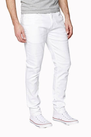 Calcium Skinny Men's White Denim Jeans - CALCOPPERSTONE01