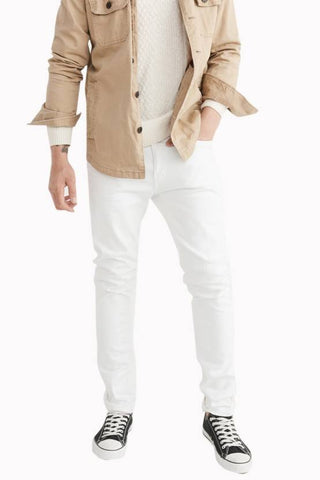 Calcium Skinny Men's White Denim Jeans - CALCOPPERSTONE02