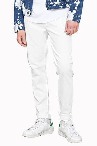 Calcium Skinny Men's White Denim Jeans - CALCOPPERSTONE03
