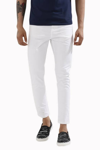 Calcium Skinny Men's White Denim Jeans - CALCOPPERSTONE04