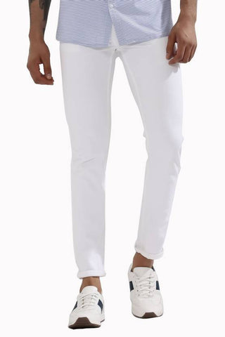 Calcium Slim Men's White Denim Jeans - CALCOPPERSTONE05