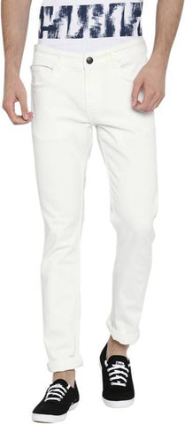Calcium Slim Men's White Denim Jeans - CALCOPPERSTONE06