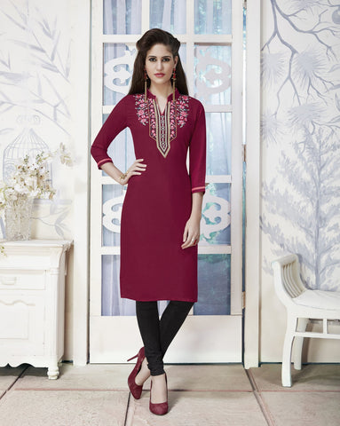 Deep Maroon Color Rayon Stitched Kurti - CAT1927 - 21870