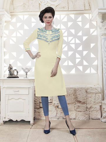 OffWhite Color Rayon Stitched Kurti - CAT1927 - 21875