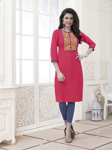 Light Orange Color Rayon Stitched Kurti - CAT1927 - 21877