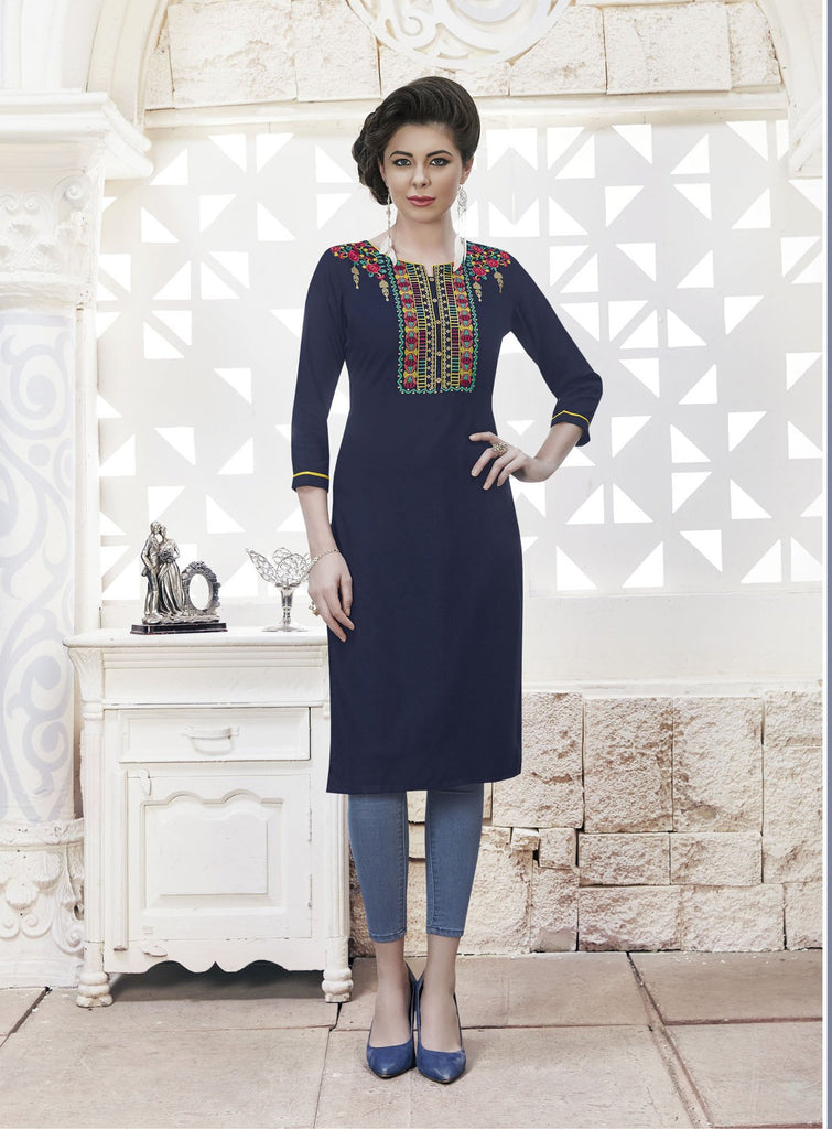 Deep Blue Color Rayon Stitched Kurti