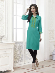 Light Blue Color Rayon Stitched Kurti