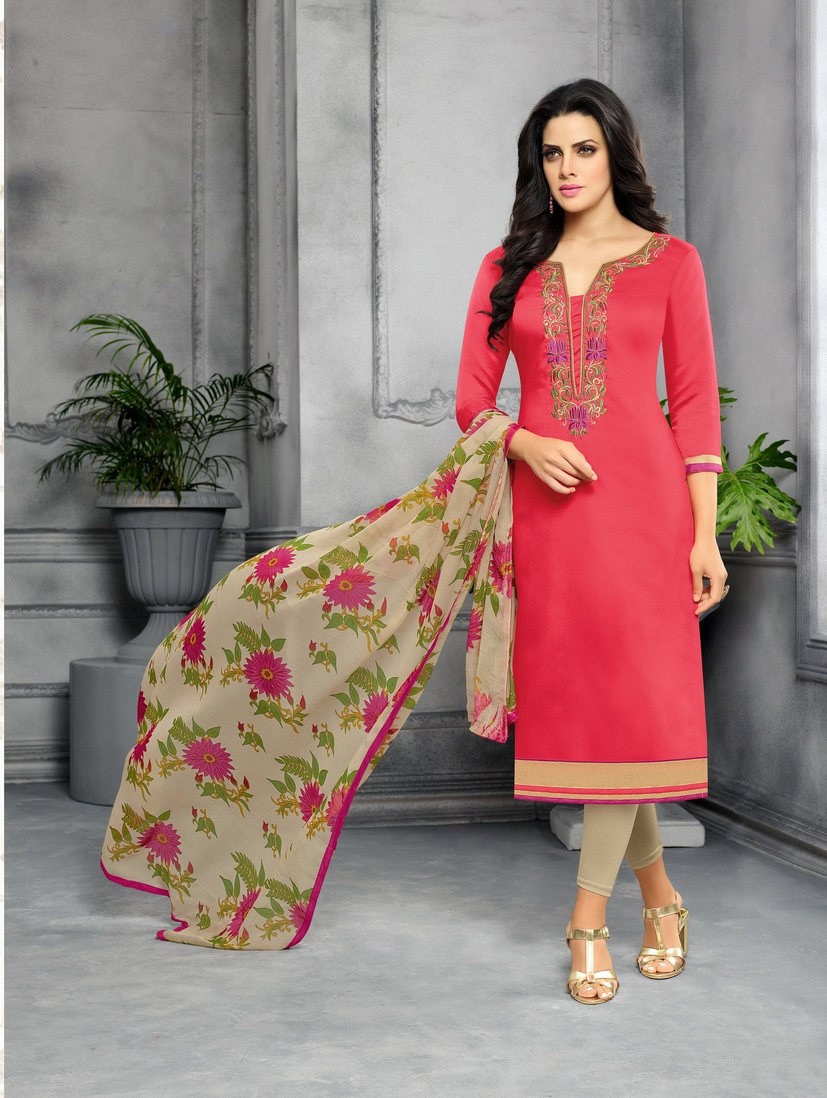 4a240f5737 Red Color Chanderi Cotton Dress Material | Zinnga