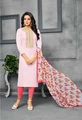 Light Pink Color Chanderi Cotton Dress Material