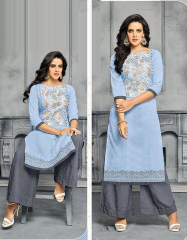 Light Blue Color Chanderi Cotton Dress Material - CAT1959 - 22277