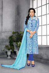 Light Blue Color Chanderi Cotton Dress Material