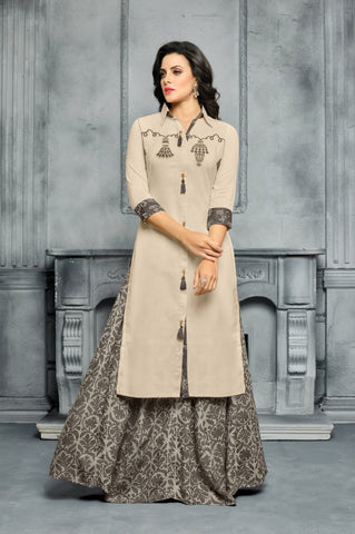 Beige Color Chanderi Cotton Dress Material - CAT1959 - 22287