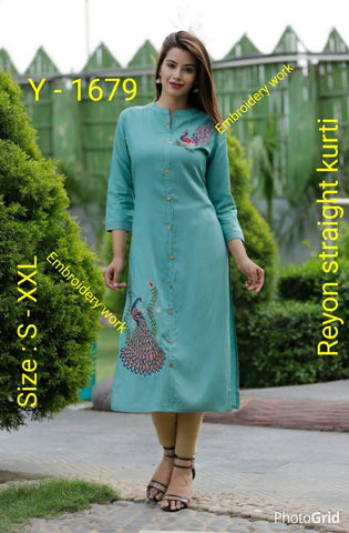 Sky Color Rayon Women's Stitched Kurti - CD-CD-02