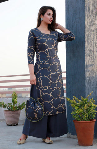 Blue Color Rayon Women's Stitched Kurti - CD-CD-11