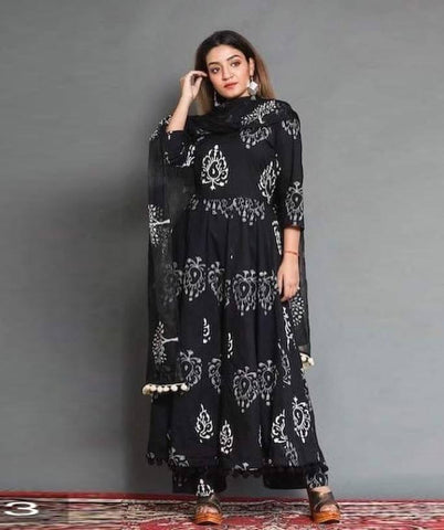 Black Color Cotton Women's Stitched Kurti - CD-CD-13