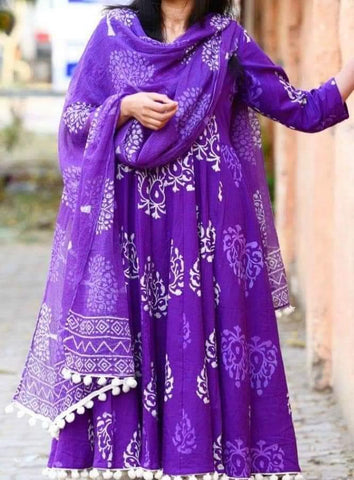 Purple Color Cotton Women's Stitched Kurti - CD-CD-14