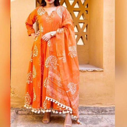 Orange Color Cotton Women's Stitched Kurti - CD-CD-15