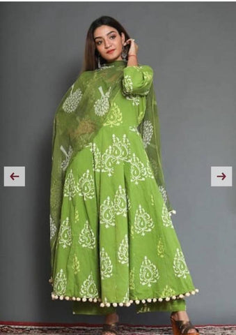 Green Color Cotton Women's Stitched Kurti - CD-CD-17