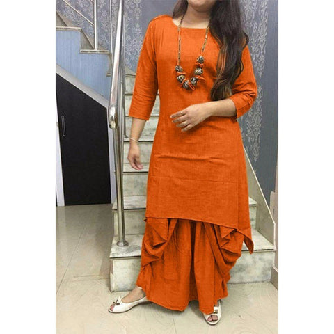 Orange Color Cotton Women's Stitched Kurti - CD-CD-20